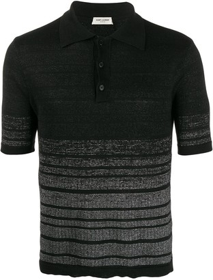 Saint Laurent Metallic Effect Striped Polo Shirt