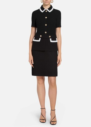 St. John Luxury Boucle Knit Contrast Collared Dress