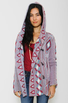 Goddis Geometric Mika Hooded Cardigan In Skyline