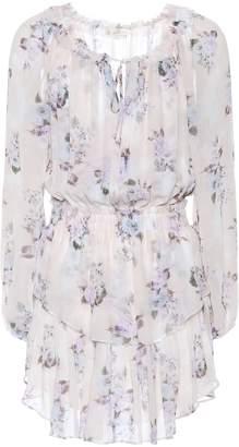LoveShackFancy Popover floral silk minidress