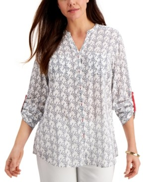 Charter Club Petite Anchor-Print Shirt, Created for Macy's