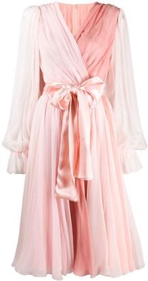 Dolce & Gabbana two-tone pleated wrap dress