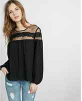 Express mesh and lace long sleeve blouse