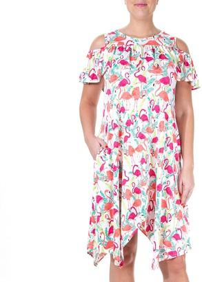 Nina Leonard Women's Print Cold-Shoulder Ruffle Dress