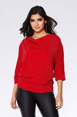 Quiz Red Glitter Cowl Neck Batwing Top