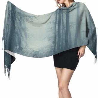 Yushg Fantasy Magic Fog Forest Mountain Trees Designer Cashmere Scarf Long Shawl Wrap Shawl Wrap For Women 77x27inch/196x68cm Large Soft Pashmina Extra Warm