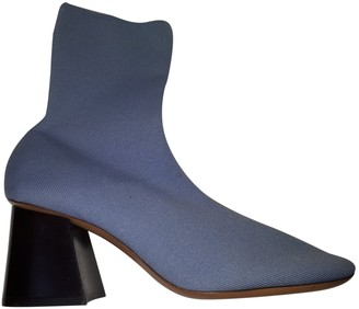 Celine Turquoise Cloth Ankle boots