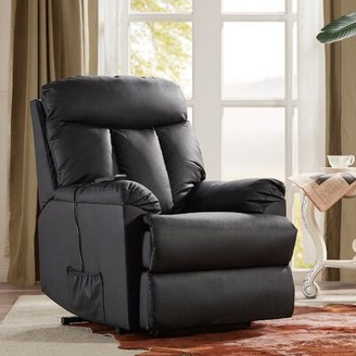 Winston Porter Alberry Faux Leather Power Lift Assist Recliner Fabric: Black Faux Leather
