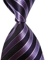 Pisces.goods New Black Purple Striped Classic Woven Man Tie Necktie Holiday Gift