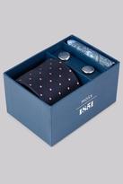 Moss Bros Navy & Sky Tie, Pocket Square & Cufflink Gift Set