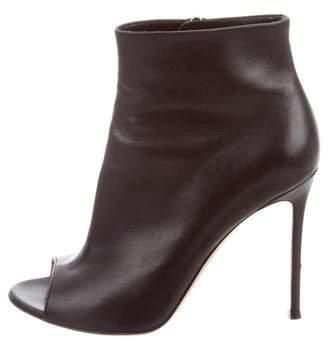 Gianvito Rossi Leather Peep-Toe Boots