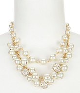 Anne Klein Shaky Faux-Pearl & Fireball Multi-Strand Frontal Necklace