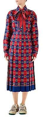 Gucci Women's GG Waves Silk Printed Tunic Midi Dress
