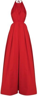 STAUD Georgia halterneck backless gown