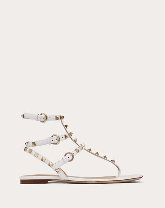 Valentino Rockstud Flip Flop Sandal In Calfskin Leather Women Optic White Calfskin 100% 36.5