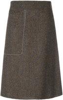 Maison Margiela stitch pocket a-line skirt - women - Cotton/Viscose/Virgin Wool - 40