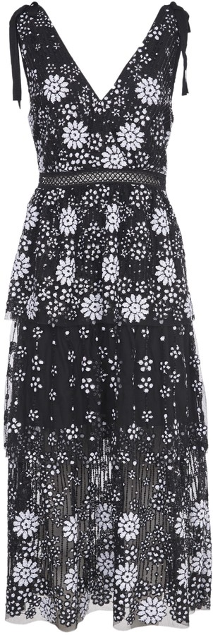 Self-Portrait Embroidery Long Dress