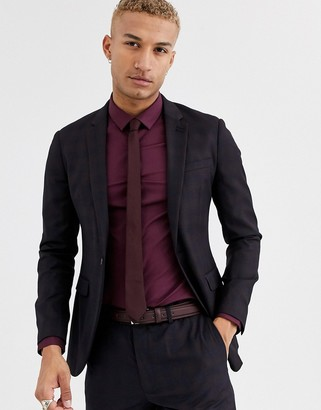 Topman slim suit jacket in burgundy check