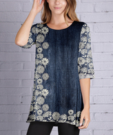 Lily Blue & White Floral Scoop Neck Tunic - Plus Too