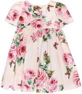 Dolce & Gabbana Roses Cotton Poplin Short Sleeve Dress