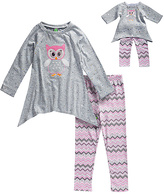 Dollie & Me Gray & Pink Owl Tunic Set & Doll Outfit - Girls