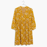 Madewell Silk Lace-Up Dress in Assam Floral