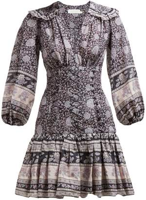 Zimmermann Amari Paisley-print Ruffled Cotton Mini Dress - Womens - Navy