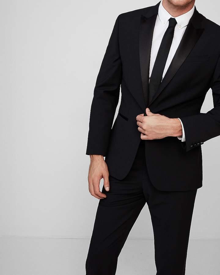 Express Classic Black Performance Stretch Wool Blend Tuxedo Jacket