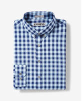 Express fitted easy care checked button-down dress shirt