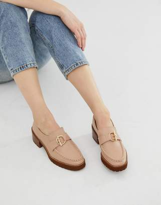 Miista Eeight E8 by taupe leather stacked heeled chunky loafers with hardware detail-Beige