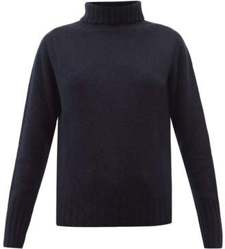 Margaret Howell Ribbed Roll-neck Brushed-cashmere Sweater - Womens - Navy