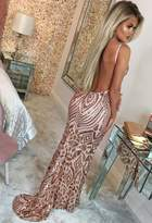 Pink Boutique Diamond Nights Rose Gold Limited Edition Sequin Maxi Dress