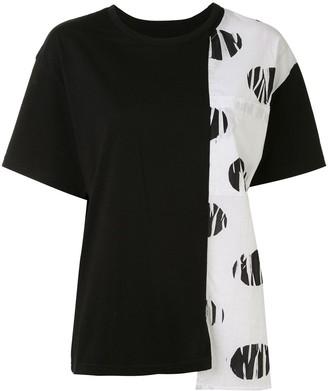 Y's asymmetric colour-block T-shirt