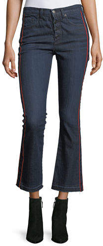 Veronica Beard Carolyn Baby Boot Cropped Jeans w/ Tux Stripes