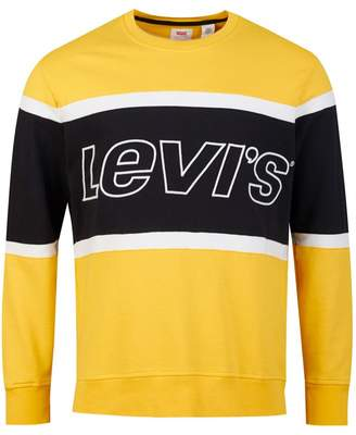 Levi's Pieced Crew Neck Sweat Colour: Yellow And White, S