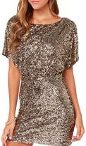 Richlulu Womens Sparkly Sequin Cut Out Backless Wrap Mini Club Dress(S,)