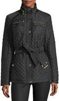 MICHAEL Michael Kors Belted Zip-Front Quilted Coat