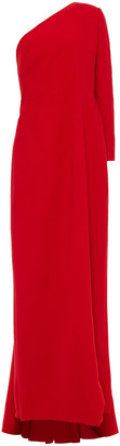 Carolina Herrera One-sleeve Draped Silk-crepe Gown