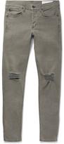 Rag & Bone One Slim-fit Distressed Stretch-denim Jeans - Gray