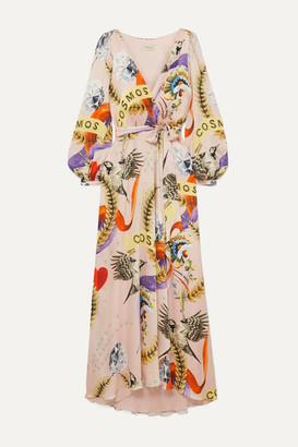 Temperley London Clementina Wrap-effect Printed Hammered Stretch-silk Satin Midi Dress - Beige