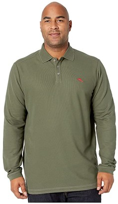 Tommy Bahama Big Tall Emfielder 2.0 Polo Long Sleeve (Black) Men's Clothing