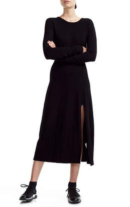 Maje Rolland Open Back Long Sleeve Midi Sweater Dress