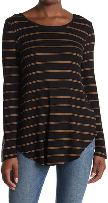 Karen Kane Striped Faux Leather Panel Long Sleeve Tunic T-Shirt