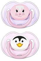 Avent Naturally 2 Orthodontal Silicone Classic Animals Soothers 0-6M - Model: Girl by Philips