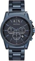 Armani Exchange A|X Men's Chronograph Outer Banks Blue-Tone Stainless Steel Bracelet Watch 44mm AX2512