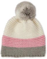Surell Knit Real Rabbit Fur Pom-Pom Beanie