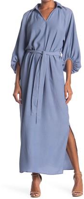 Hyfve Split Neck Blouson Sleeve Maxi Dress
