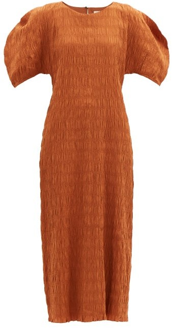 Mara Hoffman Aranza Shirred Organic Cotton-blend Dress - Rust Copper