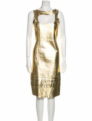 Prada Vintage Knee-Length Dress Gold