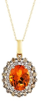 Bloomingdale's Citrine Oval with White and Brown Diamond Halo Pendant Necklace in 14K Yellow Gold, 18